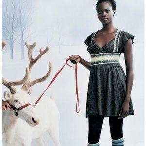 Free People Gray Nordic Fair Isle Sweater Dress